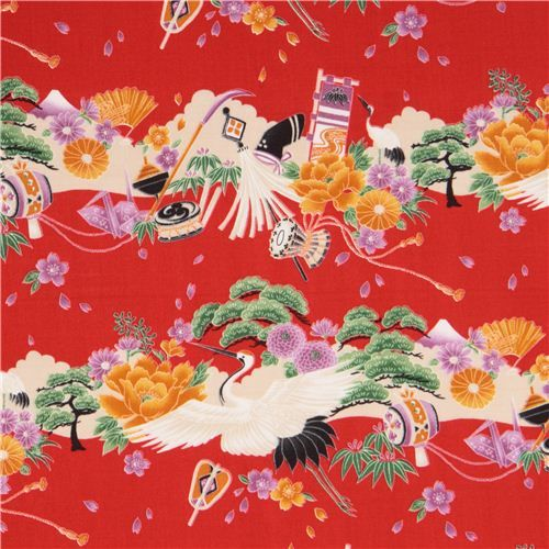 red crane Asia flower blosssom cotton fabric from Japan 2