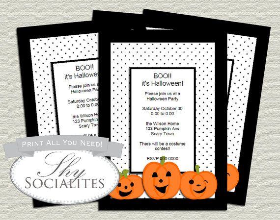 halloween pumpkin invitation halloween party cute pumpkind diy halloween party invitation diy - Homemade Halloween Party Invitations