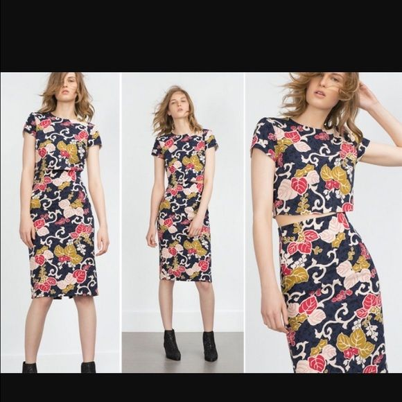 8a3a6387 Zara 2 piece crop top and pencil skirt Beautiful floral 2 piece set. Crop  top and pencil skirt Zara Other