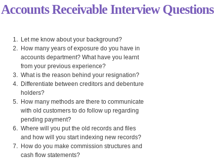 accounts receivable interview questions read more httpwww interviewquestionsinaccounts receivable interview questionshtml