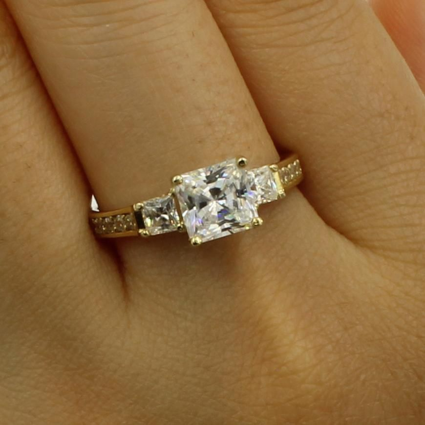 2.50 Ct 14K Real White Gold Princess Cut 3 Stone Engagement Wedding Promise Ring