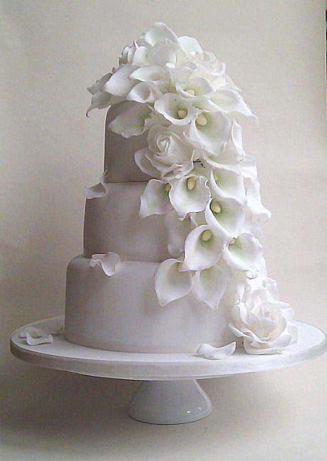 Wedding Flowers Calla Lily Calla Lilies Wedding Cake And Cake - Wedding Cake With Lilies