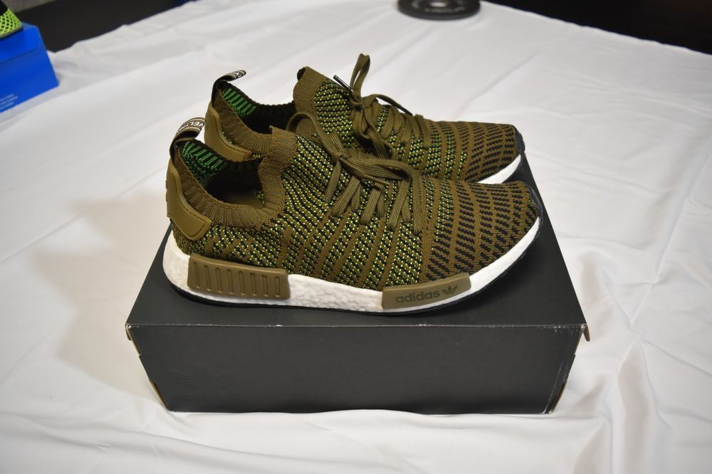 Adidas Nmd R1 Stlt Primeknit Mens Size 12 Olive Green Brown Black