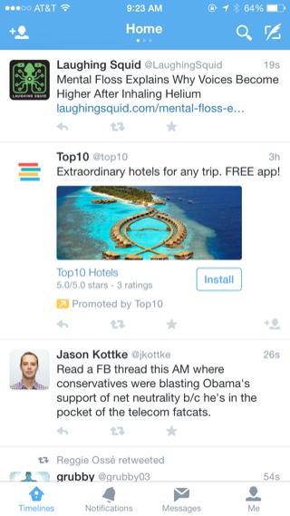 Twitter iPhone home, feeds screenshot Trip, Free apps