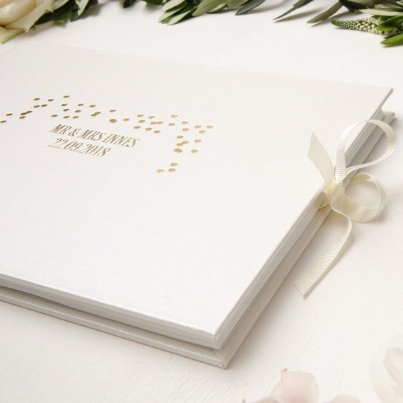 Re-live the magic, laughter and joy as you page through your wedding guestbook filled with your guests photos & messages of love, pearls of wisdom, memories and wishes for your future. A truly cherished moment.Your wedding guestbook is a lifetime keepsake to treasure.For this very reason, we wanted to create a guestbook crafted by the very best for you.♥︎ Bound by hand using premium Metallic Pearl cloth, and♥︎ Heavy textured card, sewn to support photos finished with♥︎ Ribbon end closures, t