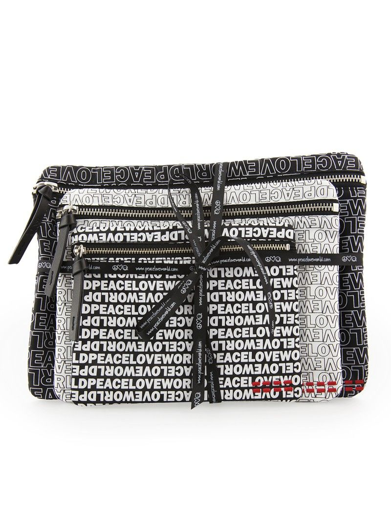 Peace Love Black White Cosmetic Bags Set Of