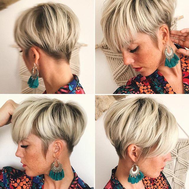 Frauen blond kurzhaarschnitt Frisuren 2020