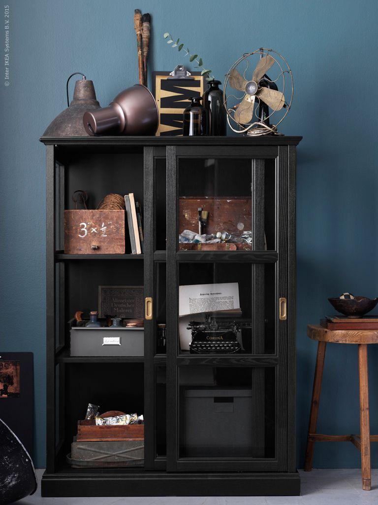 Curiosities Cabinet Glass Panels Front And Sides Black Wood Frame Brass Handles Sliding Doors MalsjÖ Mysteriet Livet Hemma Ikea