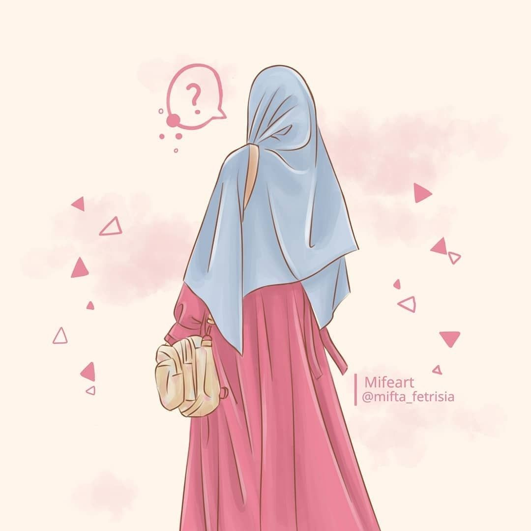 Muslimah Art Cartoon Vector Anime Gambar Grafit Kutipan Anak Perempuan Gadis Animasi