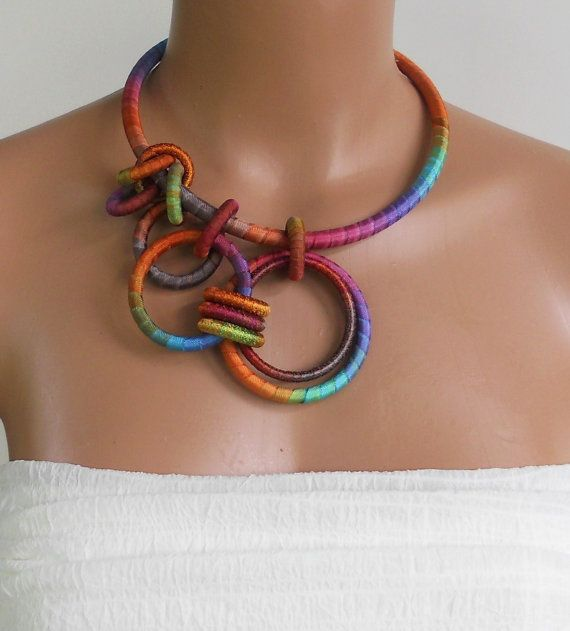 Asymmetrical Statement Necklace Marigold par fiber2love sur Etsy