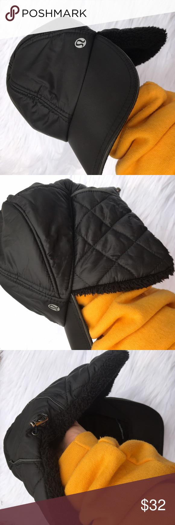 LULULEMON FAUX FUR AND NYLON HAT BLACK CUTE Cute hat ❤ lululemon athletica Accessories Hats
