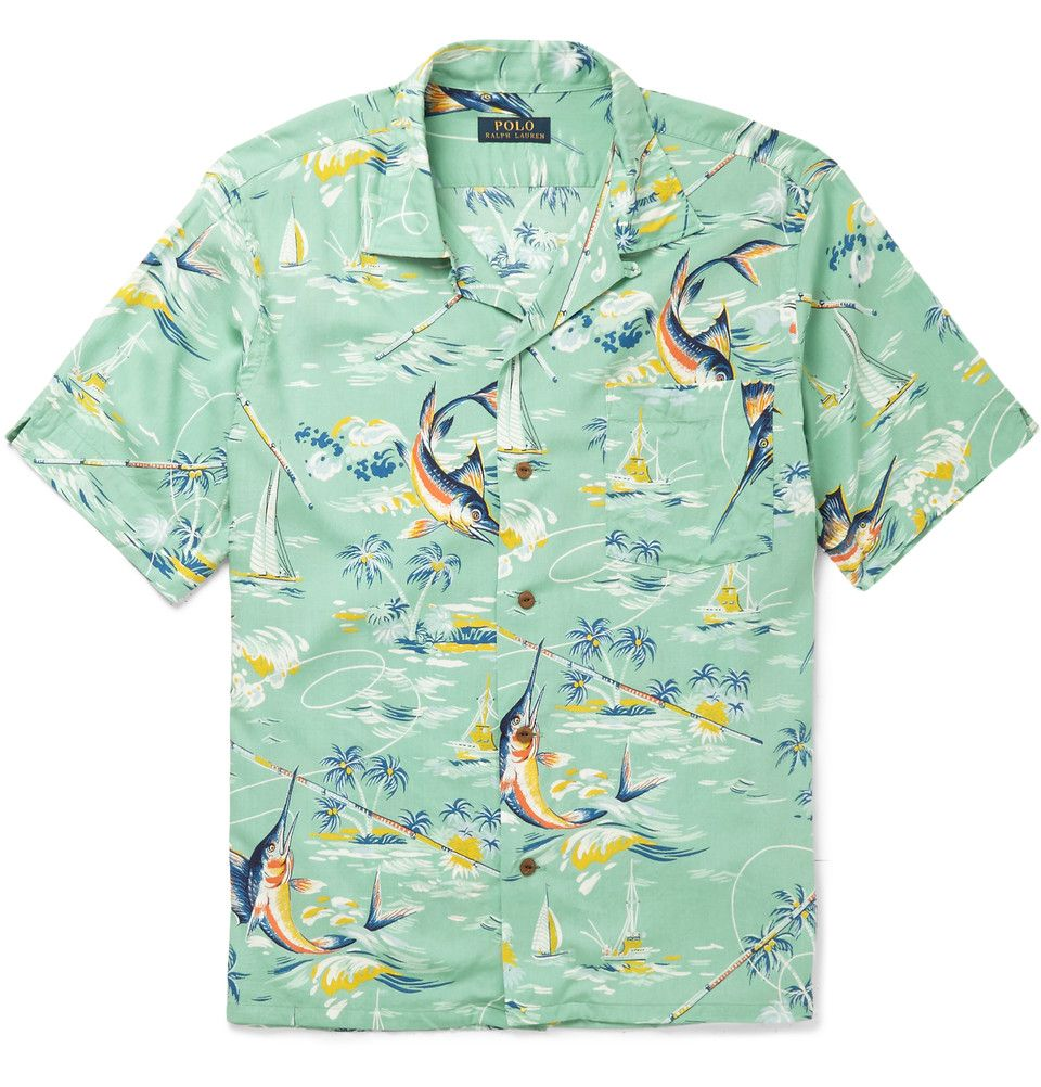 468903e943 Polo Ralph Lauren - Hawaiian-Print Camp-Collar Crepe Shirt ...