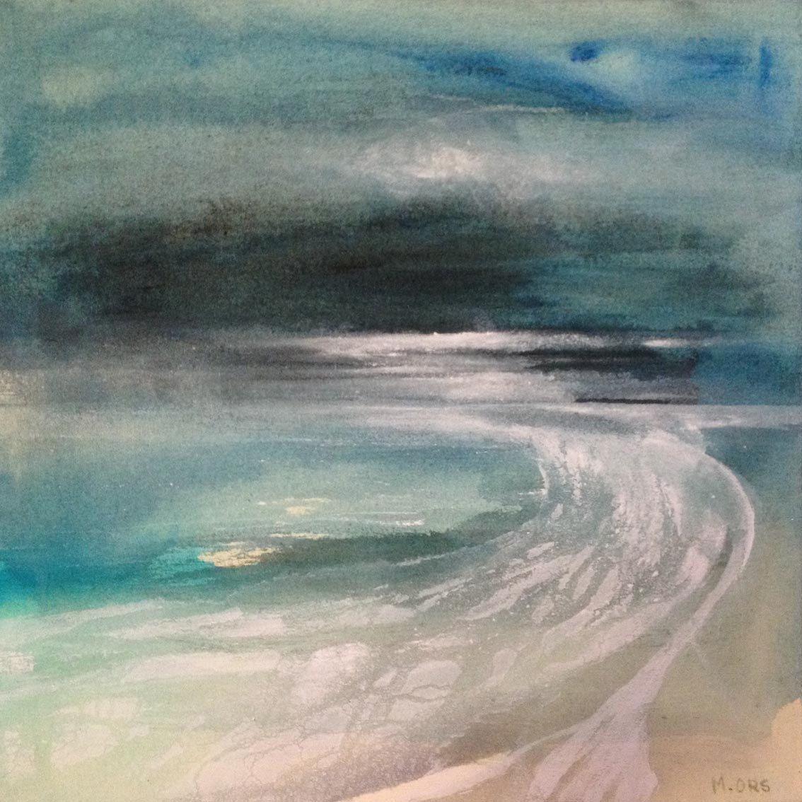 Paysage De Mer Abstrait Encres Et Acrylique Sur Toile Peinture