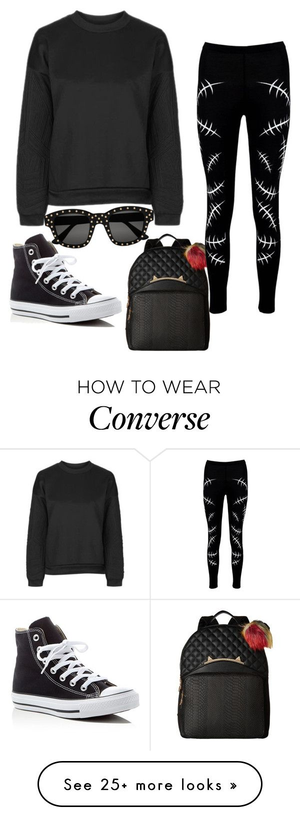 """Untitled #837"" by zeniboo on Polyvore featuring Topshop, Betsey Johnson, Boohoo, Converse and Yves Saint Laurent"