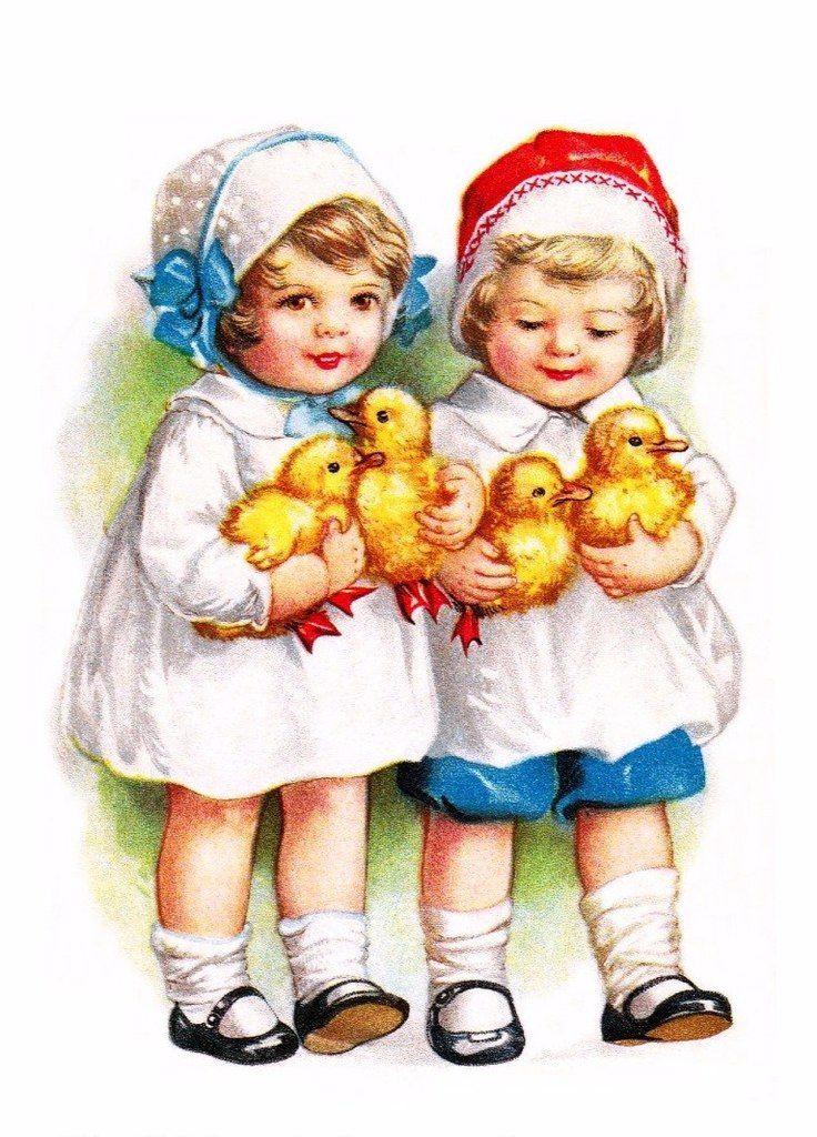 Пасхальные открытки дети