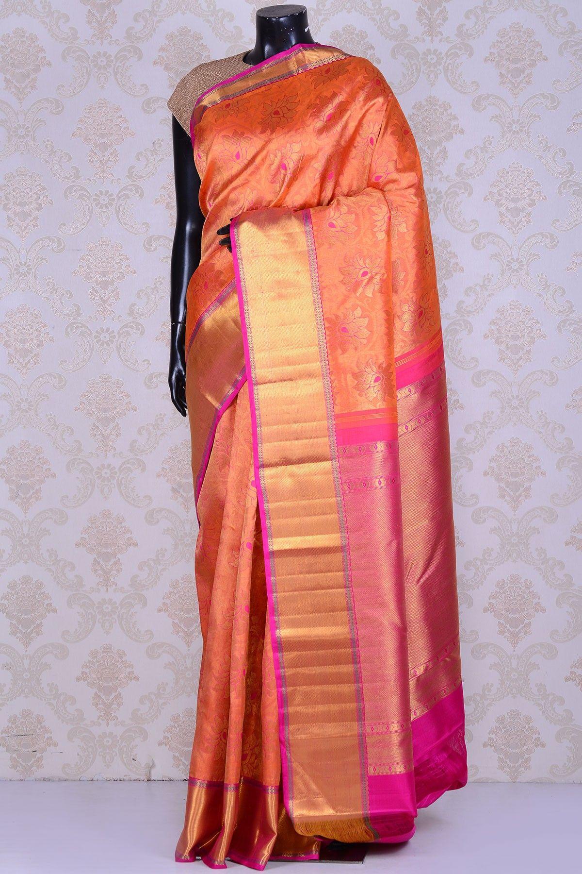 Orange And Pink Pure Zari Kanjivaram Silk Saree