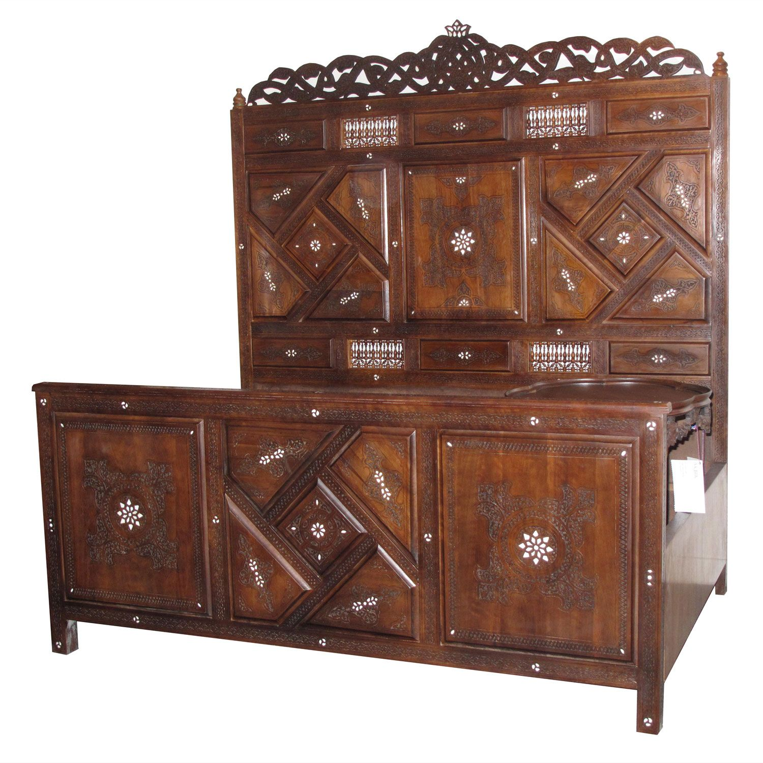 Moroccan Syrian Furniture Middle Eastern Walnut Bed With Mother Of Pearl