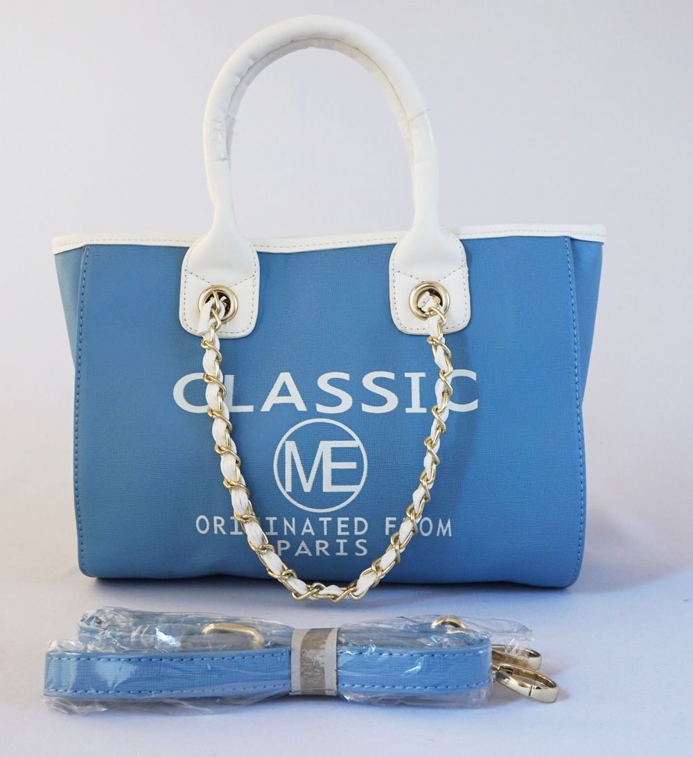 Tas Classic Me Paris Fashion Ada 2 Tali Tenteng Rantai Dan Kulit Ori Elegan Good Quality Warna Biru Uk 30x21