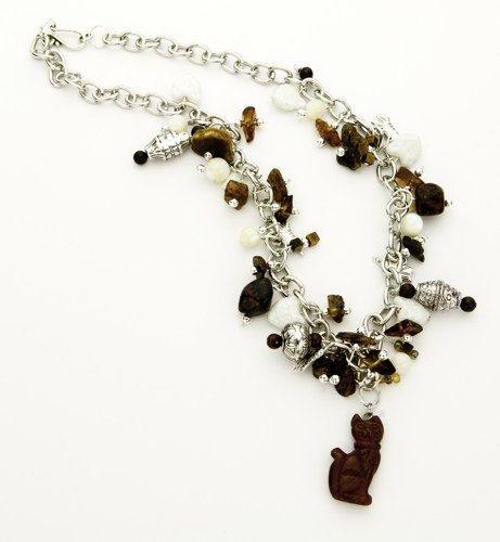 cat charm necklace cat necklace amber jasper tiger eye cat