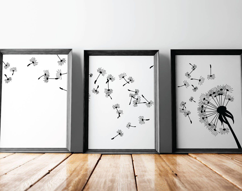 Dandelion Wall Art, Modern Wall Art, Printable Wall Decor, Flower Wall Art,