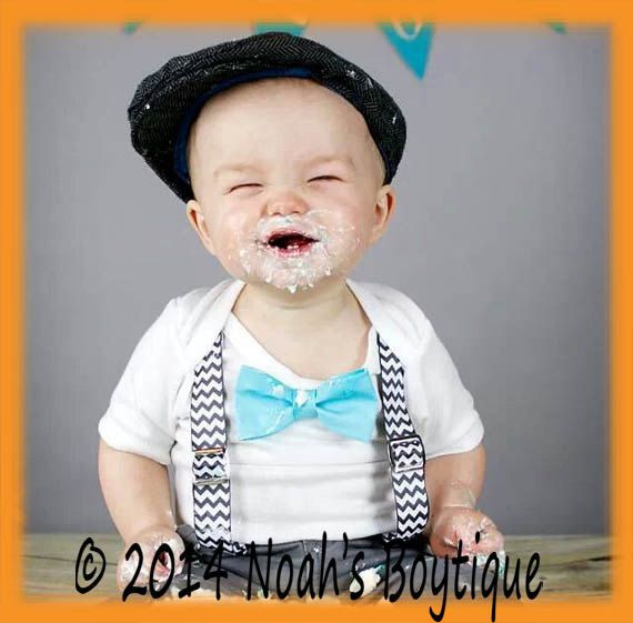 a0fb3bbfd Baby Boy Cake Smash Outfit - Cake Smash Suspenders and Bow Tie - Grey  Chevron and Aqua - First Birthday - Photo Shoot - Baby Boy Clothes  outfit    ...