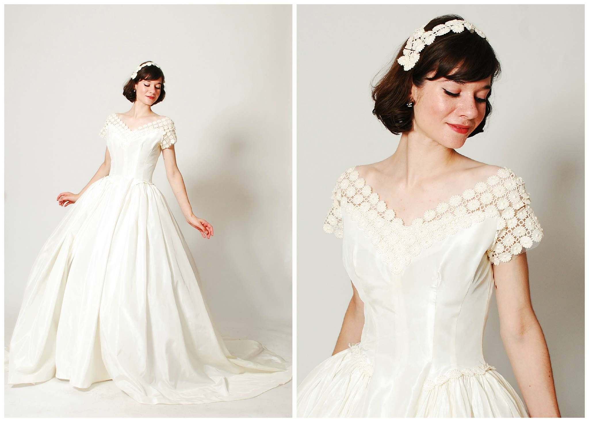 ivory taffeta bodice and skirt ivory venise lace wide neckline