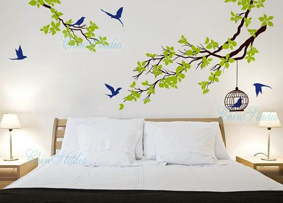 Superieur Vinyl Wall Decals Tree Birds Wall Decal Wall Art Sticker Nature Wall Decal  Vinyl Nursery   Branchs Cherry Blossom Birdcage Birds Via Etsy