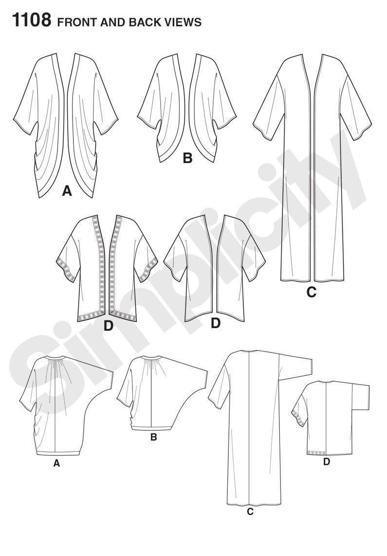 Simplicity 1108 Misses\' Kimono\'s in Different Styles | Varios