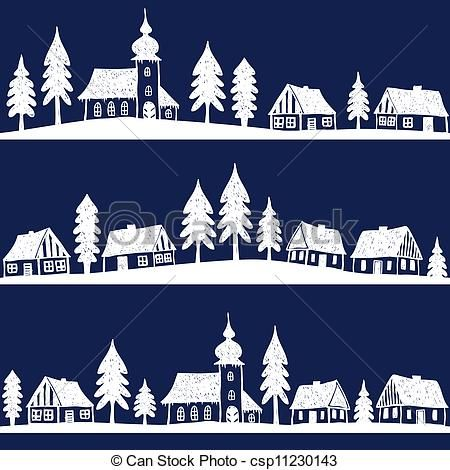 Eps Vector Of Christmas Village With Church Seamless Pattern Hand Drawn Csp11230143 Search Clip A Silhouette Christmas Christmas Paper Christmas Village