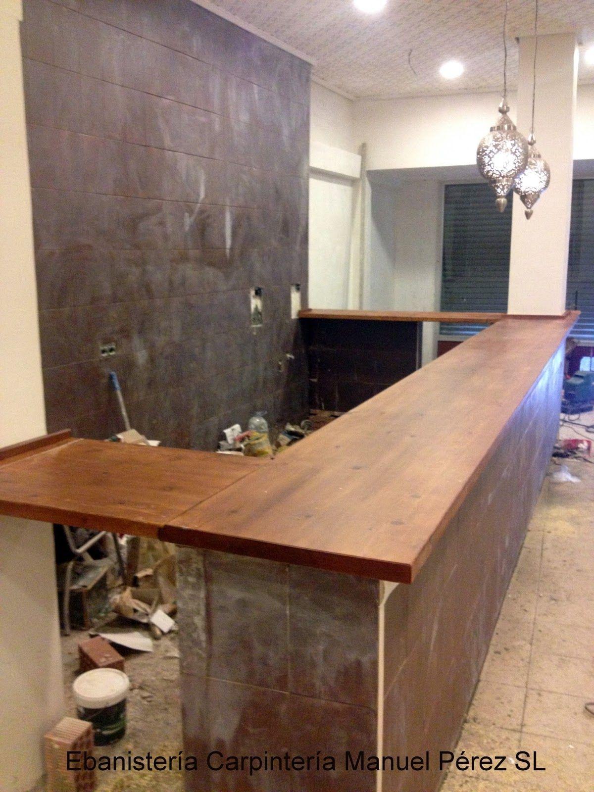 Barra de bar en madera maciza con certificado de barniz for Fabricacion de bares de madera