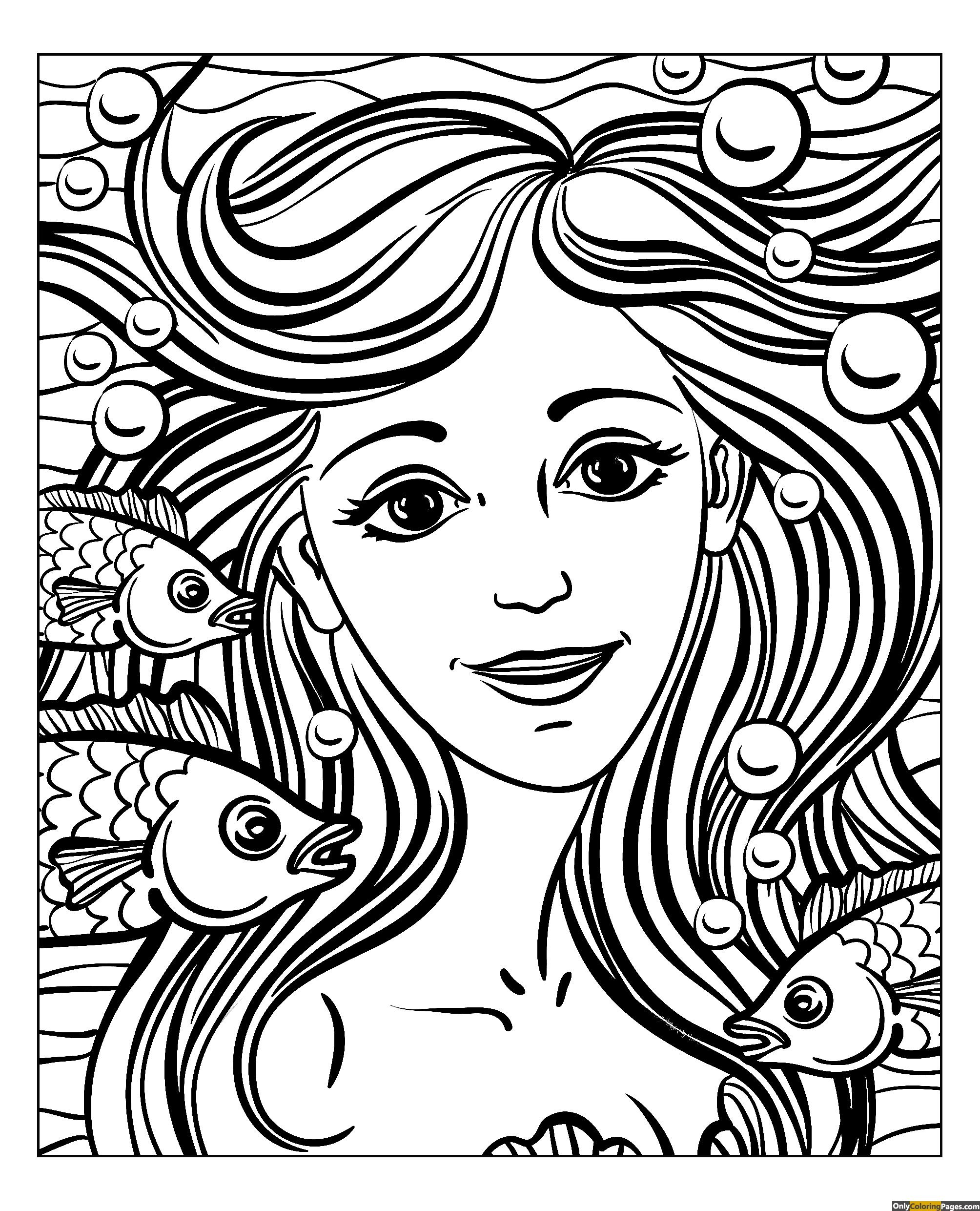 Realistic Girl Face Coloring Page With Images Mermaid Coloring