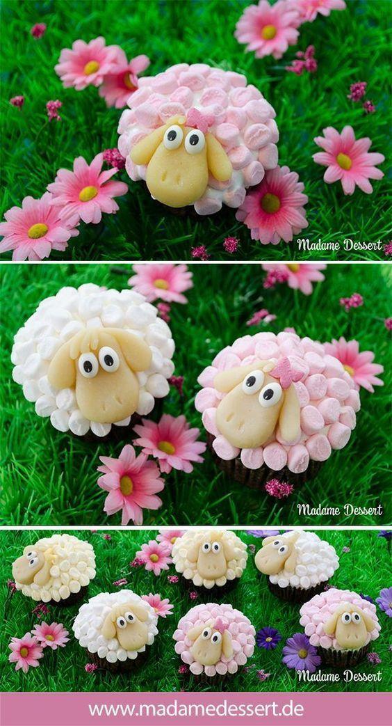 Osterschaf Agathe – Cupcakes im Marshmallowpelz