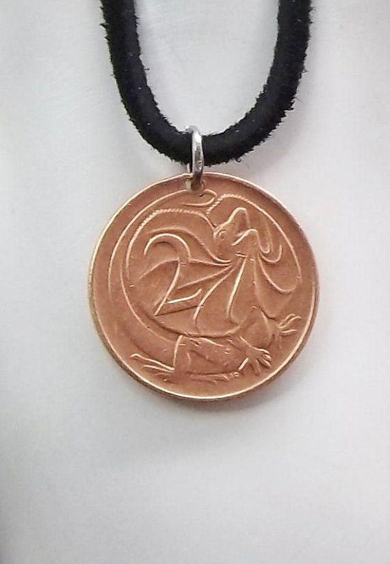 Lizard Coin Necklace Australian 2 Cents Coin By Autumnwindsjewelry