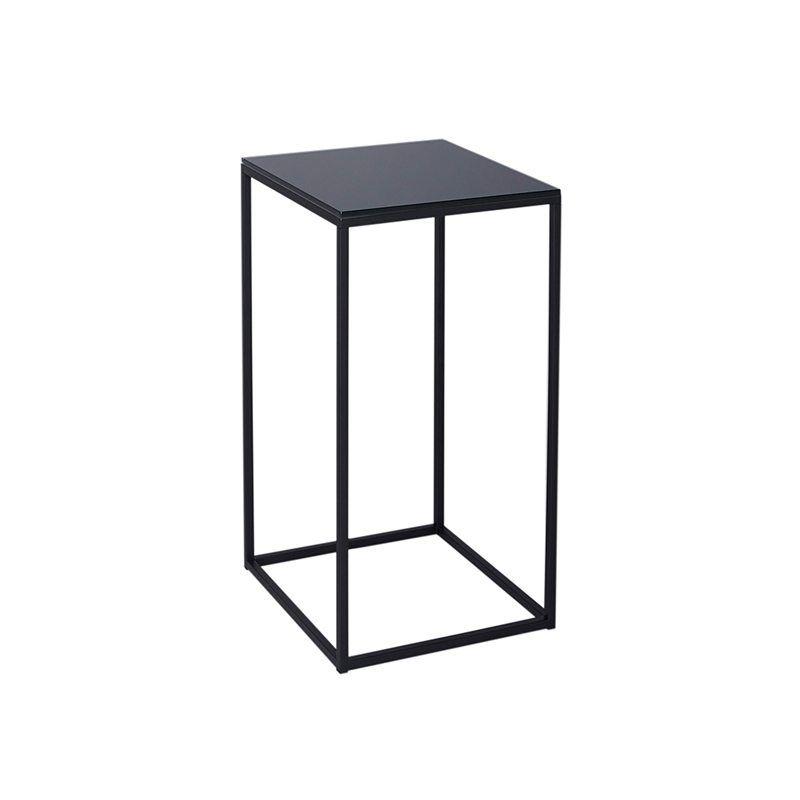 Blank Eiken Side Table.Letizia Black Square Side Table With Black Open Metal Frame