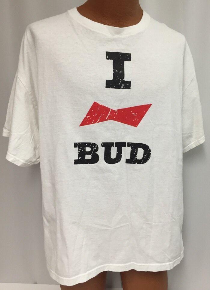 3b077e9f8 I Love Bud T-Shirt XL Men's Budweiser Beer White Delta Proweight Logo # Budweiser #GraphicTee
