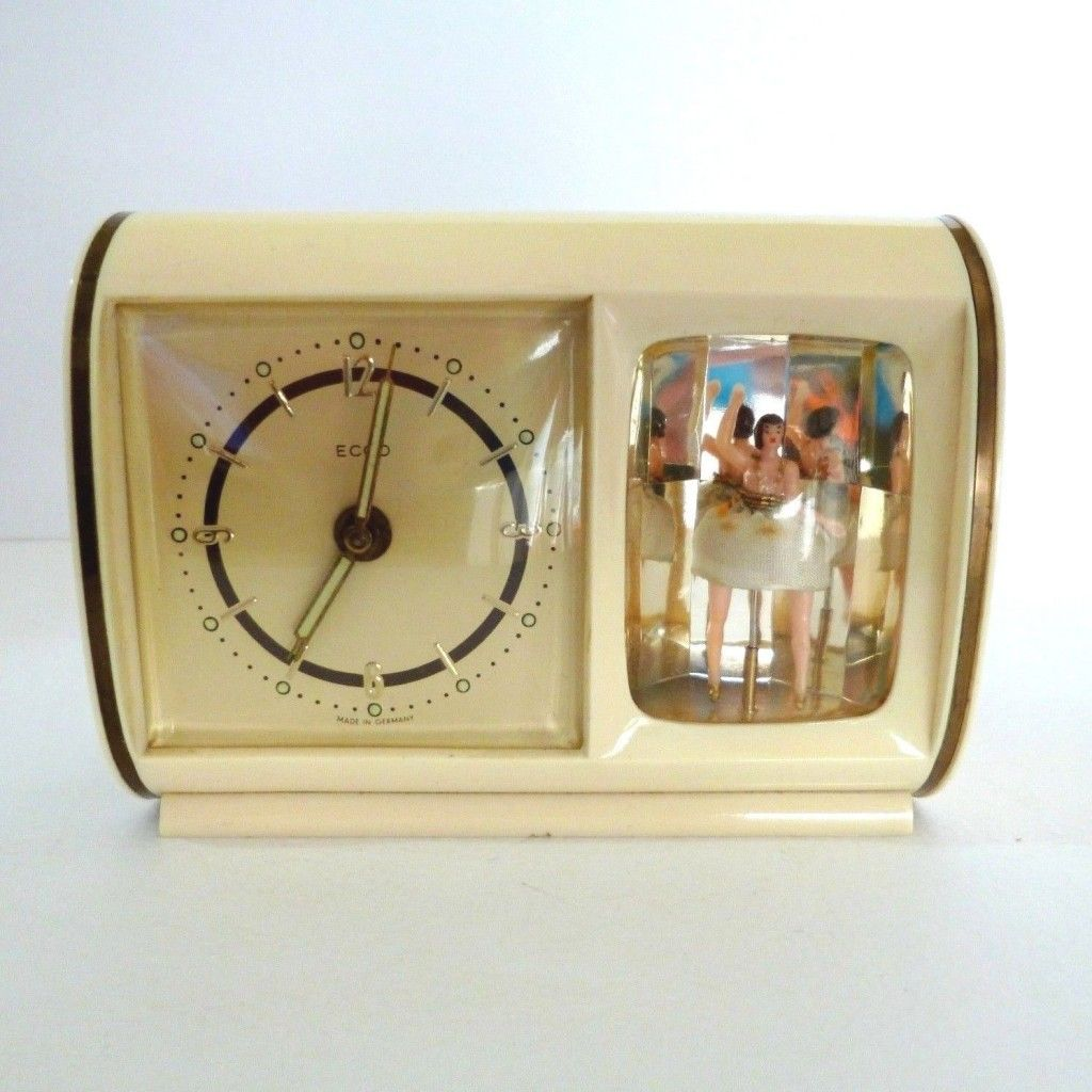 Vintage Musical Alarm Clock Reuge Swiss Ballerina Music Box C1950s