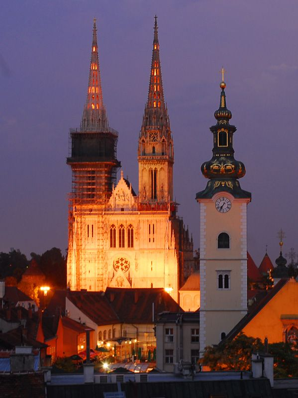 Zagreb Night Life Photo Zagreb Cathedral Croatia Travel Zagreb Croatia