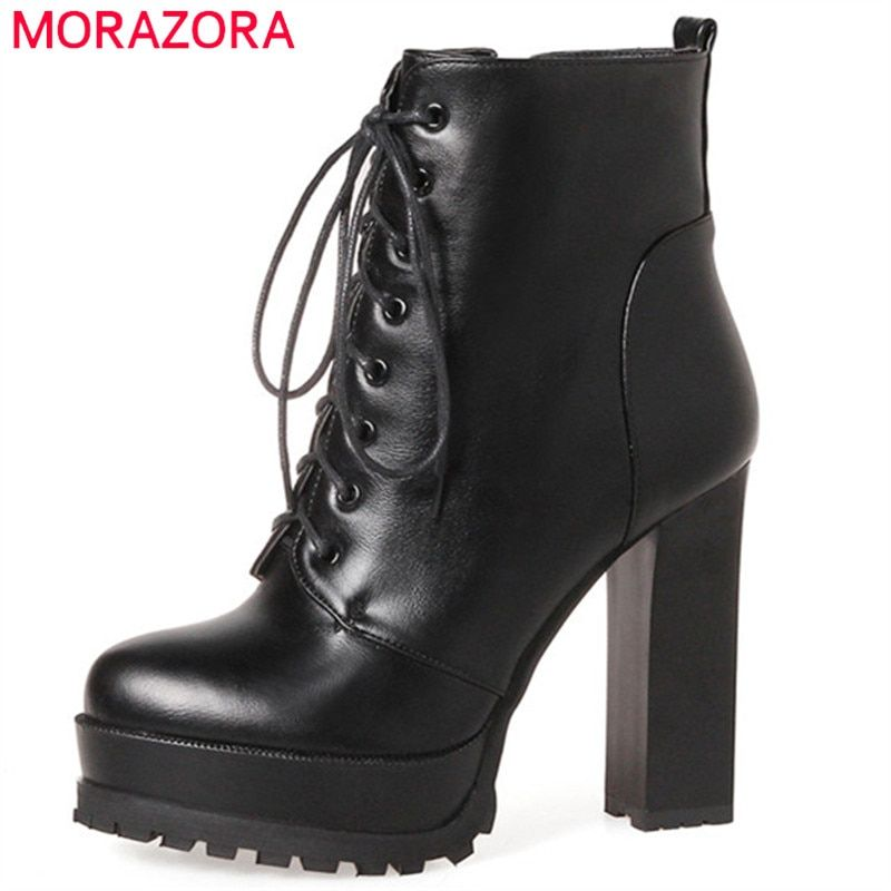 21606a5e0e78 MORAZORA Fashion shoes woman platform boots spring autumn ankle boots for  women top quality high heels shoes big size 34-43
