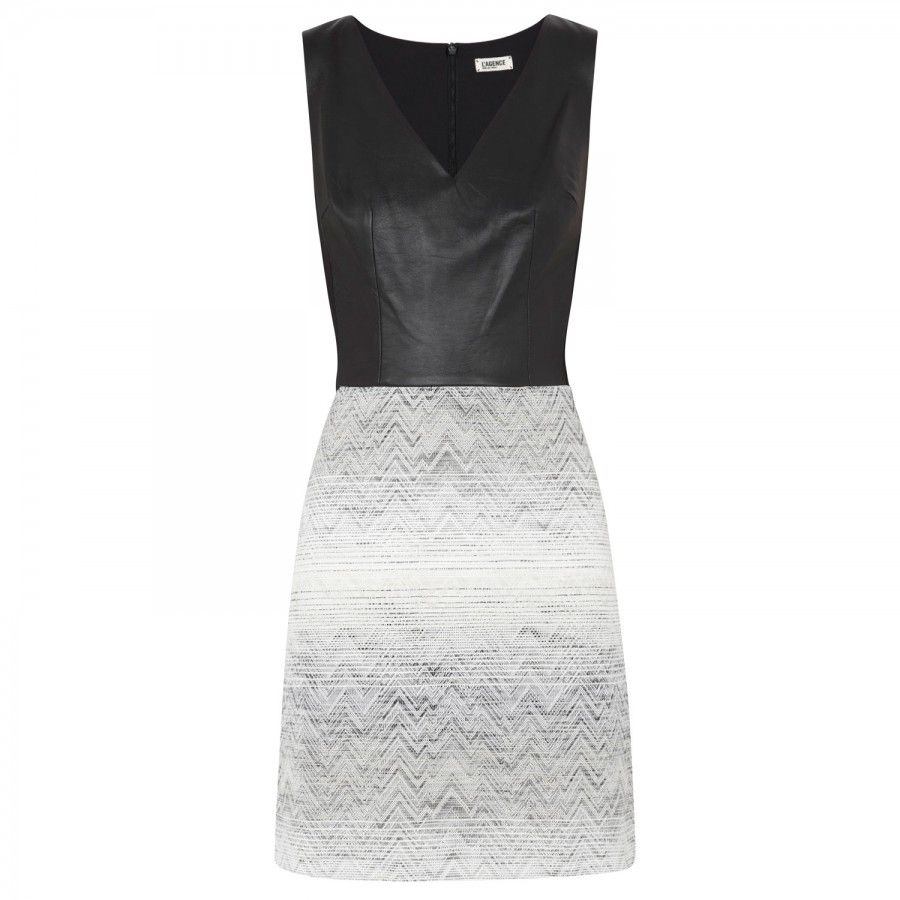 L'Agence - Leather and Cotton Blend Dress