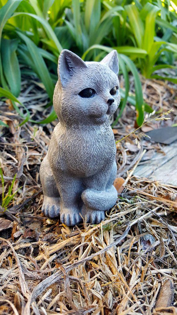 Cat Statue, Cat Memorial, Small Cat Figure, Concrete Cat Garden ...
