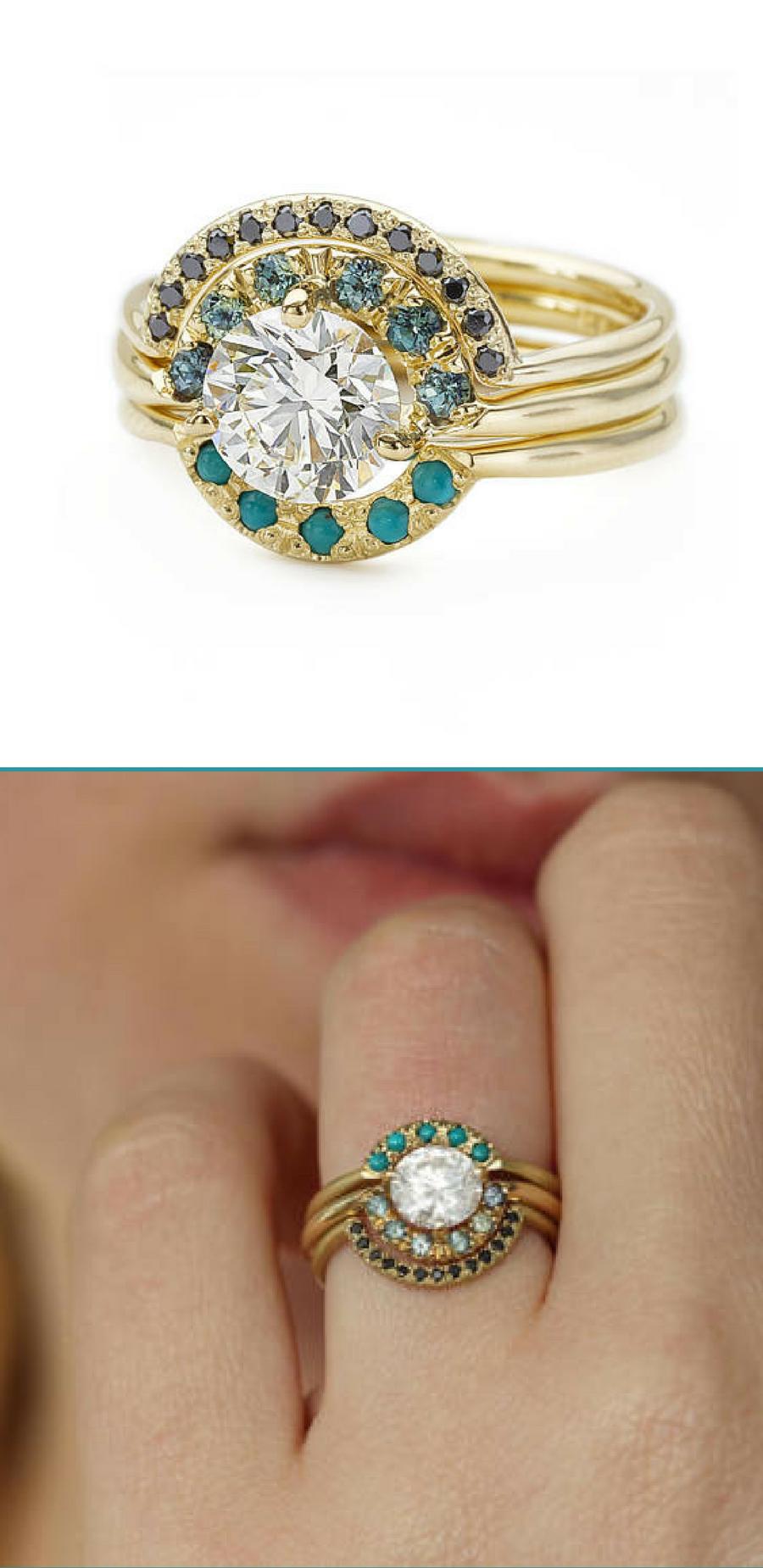 I absolutely LOVE this wedding ring set Boho Wedding