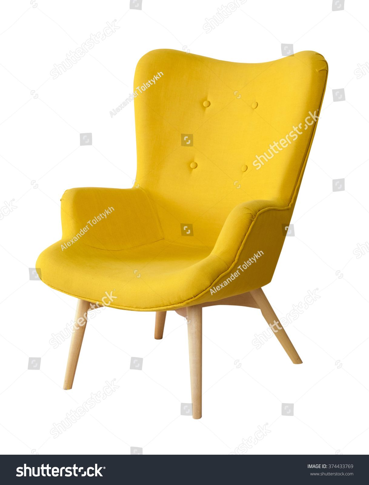 Yellow Modern Chair Isolated On White Background Sponsored