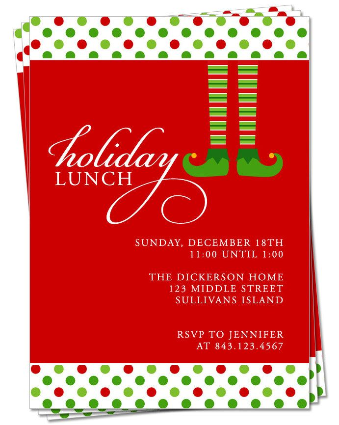 Invitation, Holiday Party Invitation, Christmas Dinner or Lunch ...
