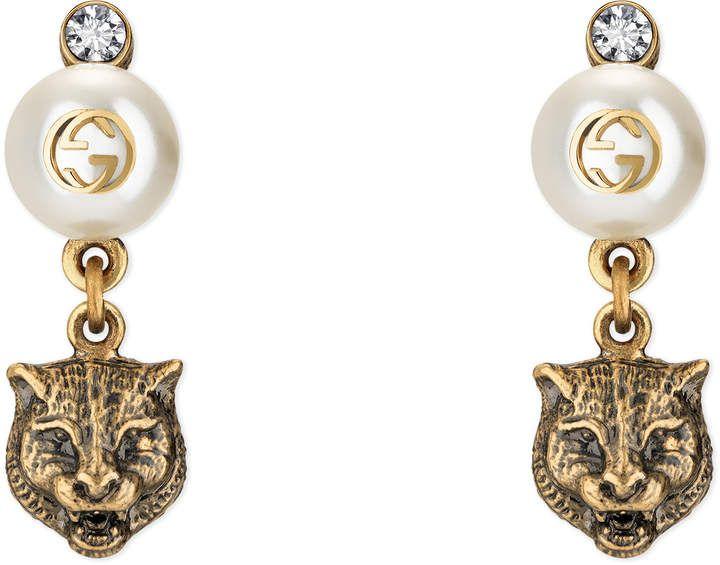 Gucci Feline earrings with resin pearls eNhLhoM