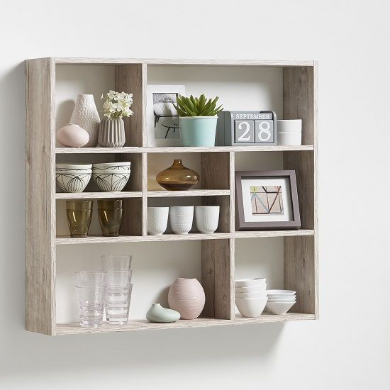 Andreas Wall Mounted Shelving Unit In Sand Oak With Open Compartments Perfect To Add On Any Wall Of Wall Mounted Shelving Unit Wall Shelves Unique Wall Shelves