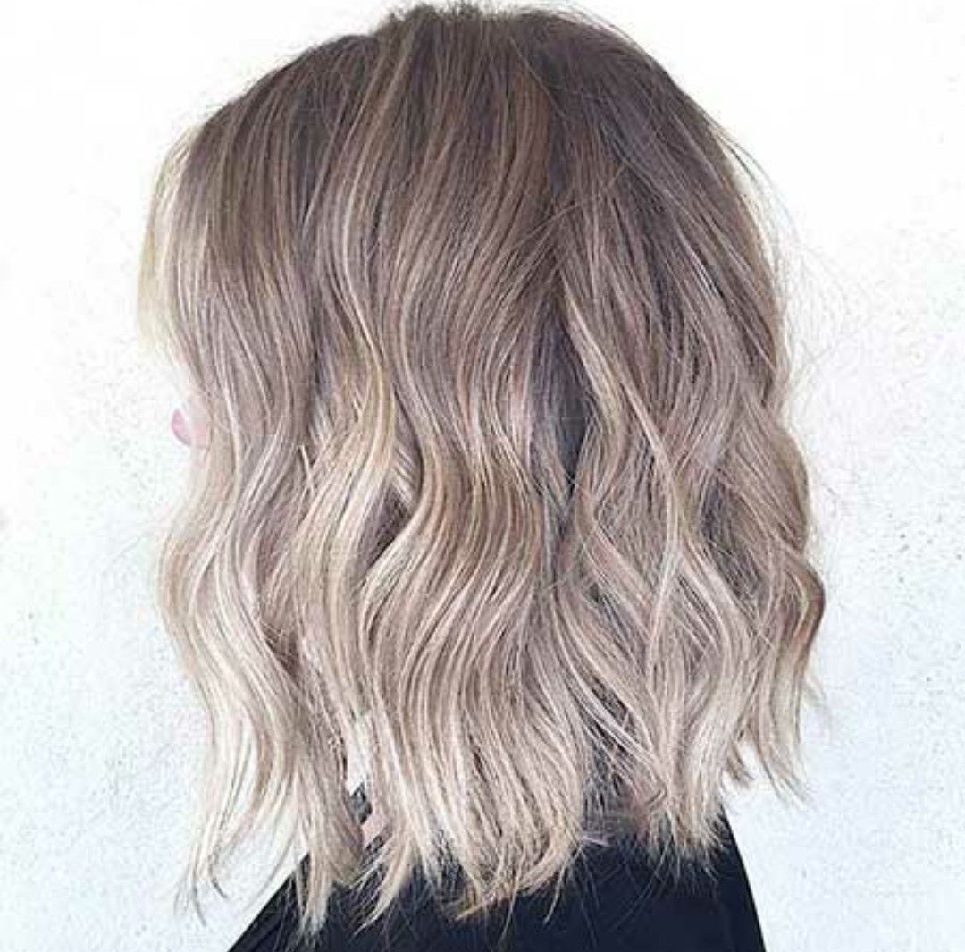 Short hair ash blonde lob layered ombre short ash balayage