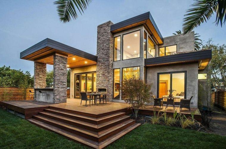 Arten der modernen Architektur mit Stein, Metall und Glas