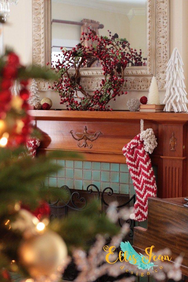 christmas decor, living room, wreath, mantel, white christmas trees