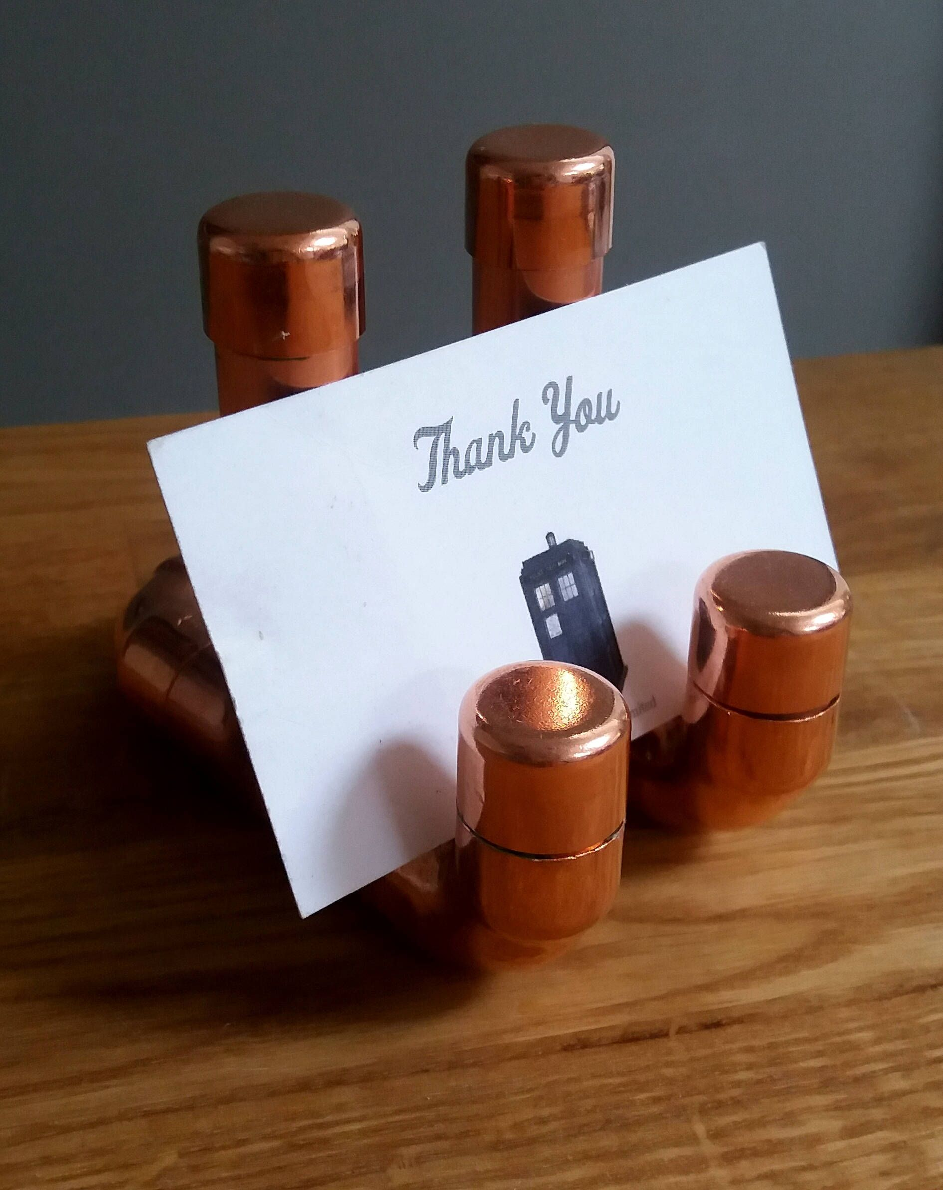 Copper pipe business card holder stand by SnugandStyle on Etsy ...