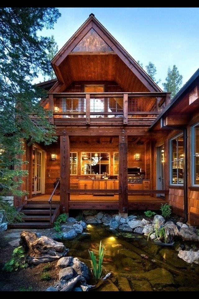 Amazing cabin style house and pond landscaping Home Ideas
